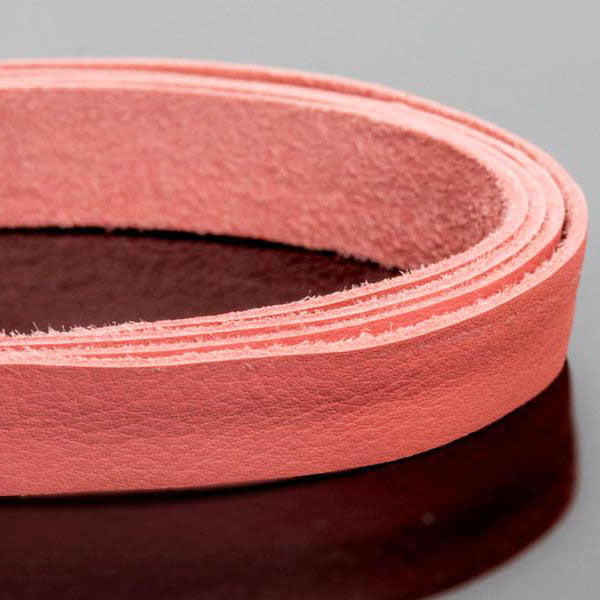 3 Feet soft high quality 10mm leather deertan flat cord, Pink