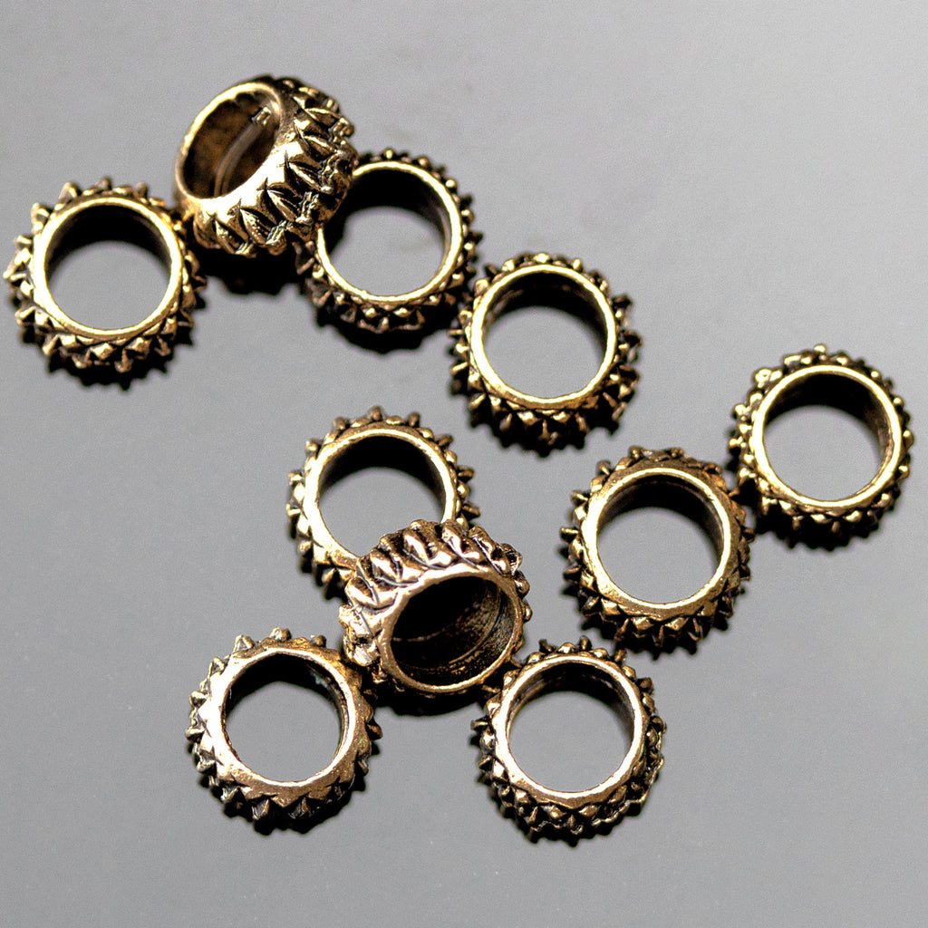 10 Textured Ring Spacer Beads, 3 x 6mm, Hole 4mm, Antique Gold