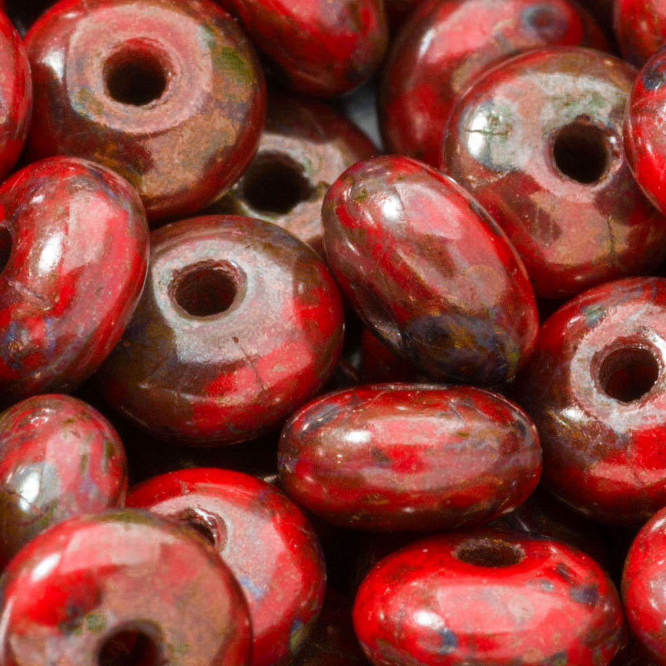 50 Opaque red Picasso Czech rondelle spacers, 6mm