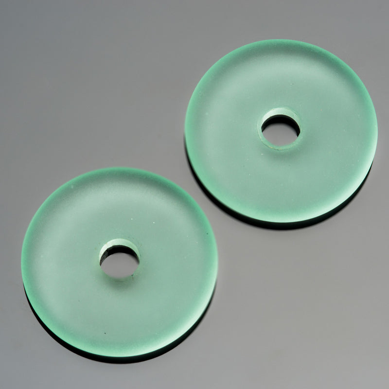 2 or 4 Cultured Faux Sea Glass Light Aqua Coke Bottle Donuts, 25mm, 4mm hole