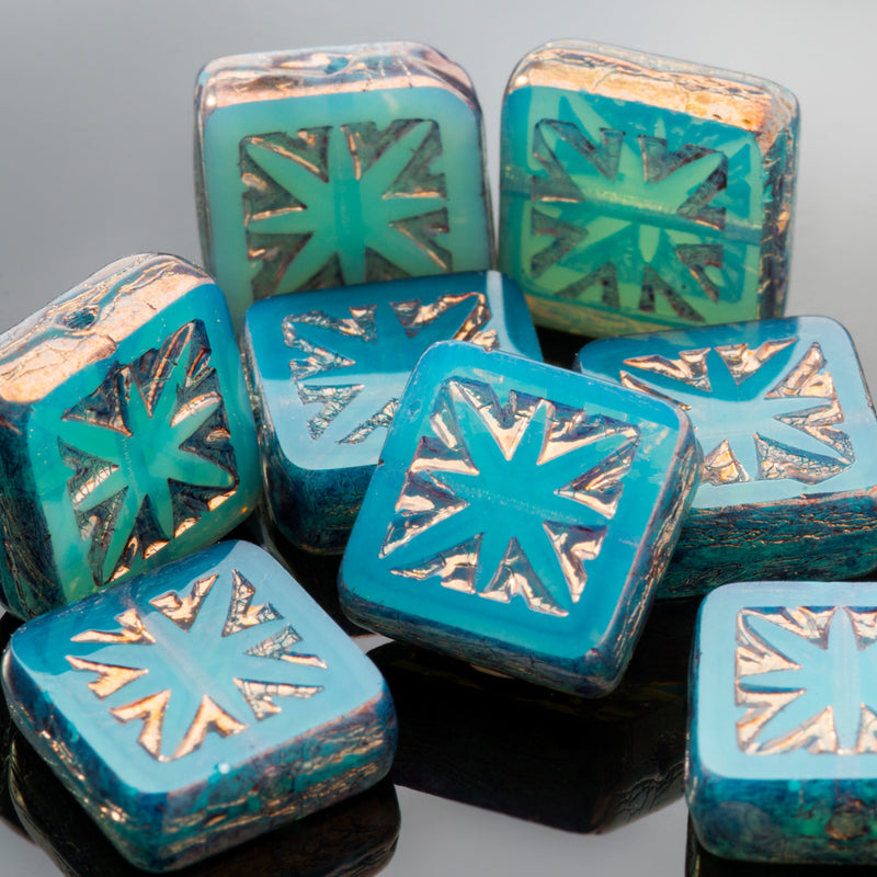 6 Square with star turquoise blue opaline with bronze wash Czech beads, 11mm