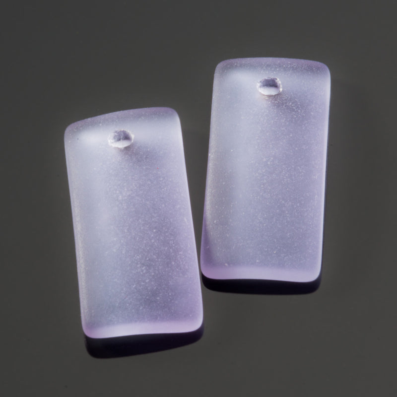 2 Cultured Sea Glass Bottle-Curved Earring Rectangle Pendants, 22 x 11mm, Periwinkle