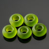 5 Large 5mm Hole Cultured Faux Sea Glass Rondelle Beads, 14 x 10mm, Olive Green