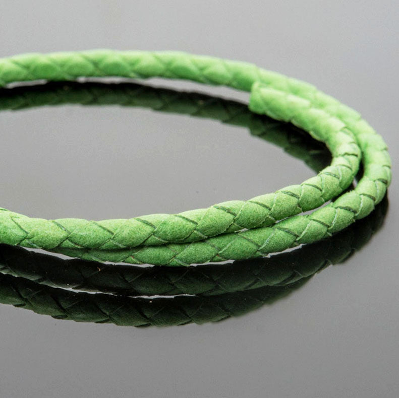 4mm round soft Denver woven leather bolo cord in Bright Green, 1 Foot