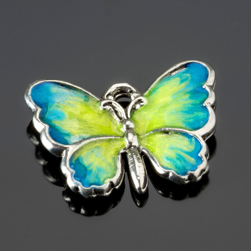 Hand-enameled blue and yellow lead-free silver pewter metal butterfly charm, 19 x 14mm