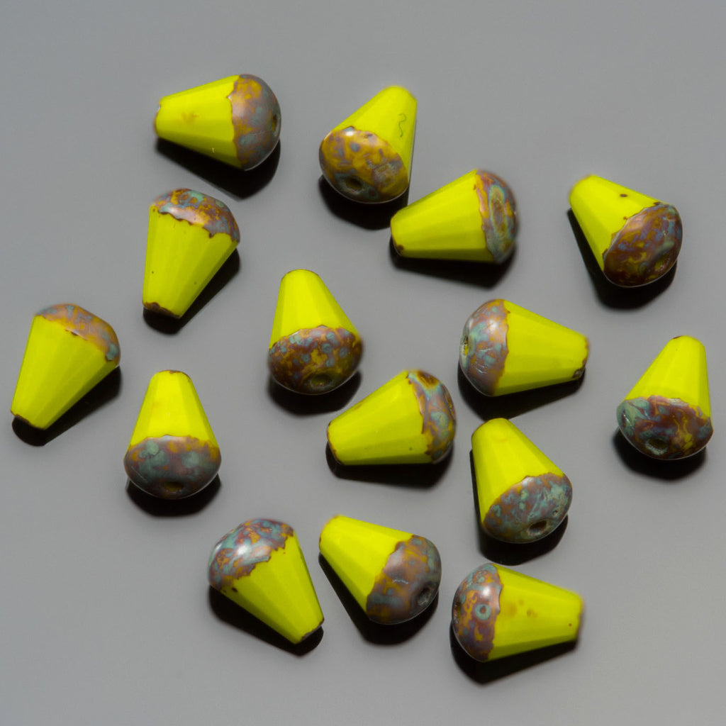 15 Yellow Picasso faceted drop top cut Czech glass beads, 8 x 6mm