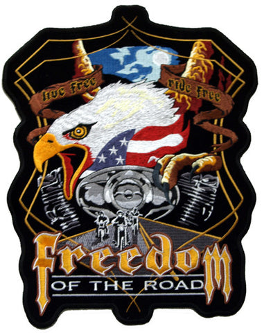 Eagle & Harley Engine Freedom of the Road Large Patch, Accessories - Fat Skeleton UK