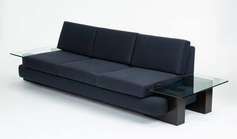 American-Made Sofa with Glass End Tables by Kroehler