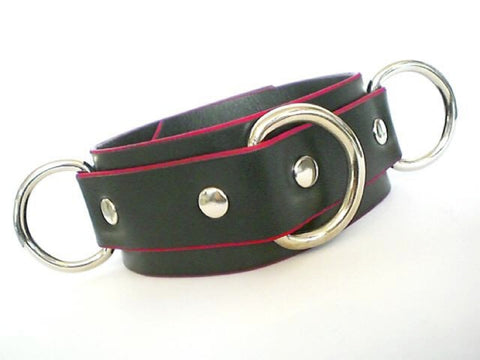 Black and Red Three Ring Leather Collar