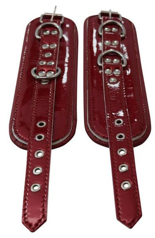 Glossy Blood Red Genuine Leather Padded Cuffs
