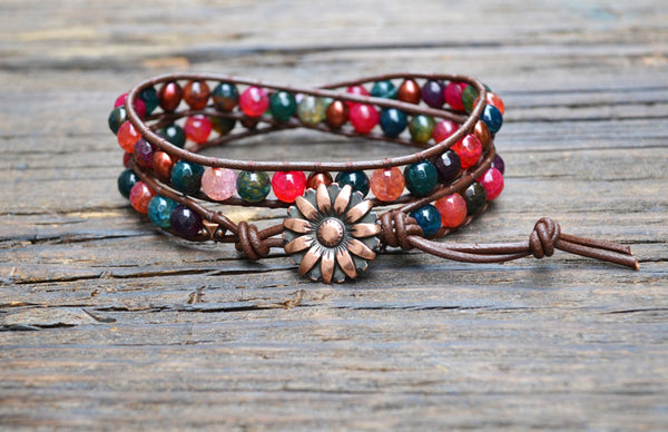 SOLD OUT! 6mm Agate & Freshwater Pearl Leather Wrap Bracelet Kit (Dyed)