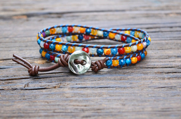 Rainbow Agate Leather Wrap Bracelet Kit (Single wrap)