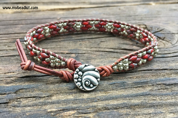 Southwest Leather Wrap Bracelet Kit - SuperDuo 2-hole Glass Beads - Ladder Stitch - Red Color Mix