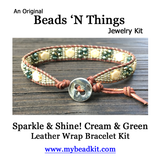 NEW! Sparkle & Shine! Hex Bead Wrap Bracelet Kit with Seed Beads & Crystals (Cream & Green)