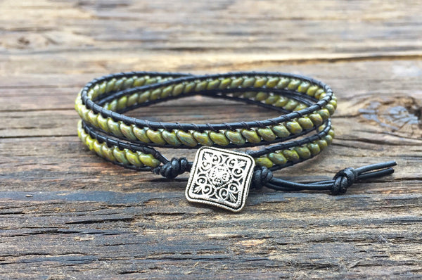 Leather Wrap Bracelet Kit - Double Wrap - Superduo 2-hole Glass Beads - Ladder Stitch - Green