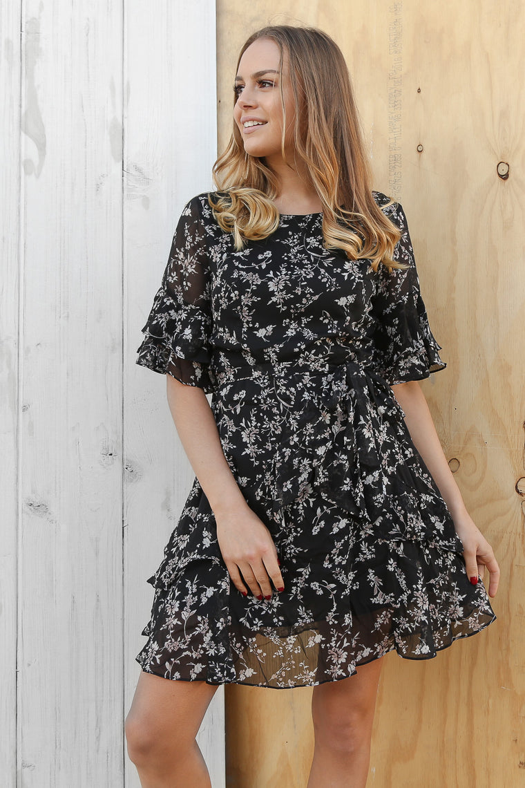 nia wrap floral mini dress
