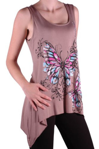 Kayla Butterfly Sleeveless Plus Size Vest