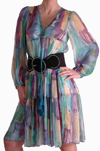 Silky Multicoloured Panelled Print Dress