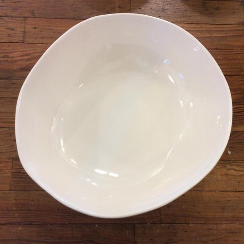 "12"" Round Bowl in Gloss White Stripe"