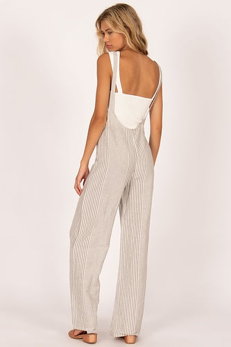 Amuse Fina Overall Woven Jumpsuit - Grey Stripe - Ella J Boutique
