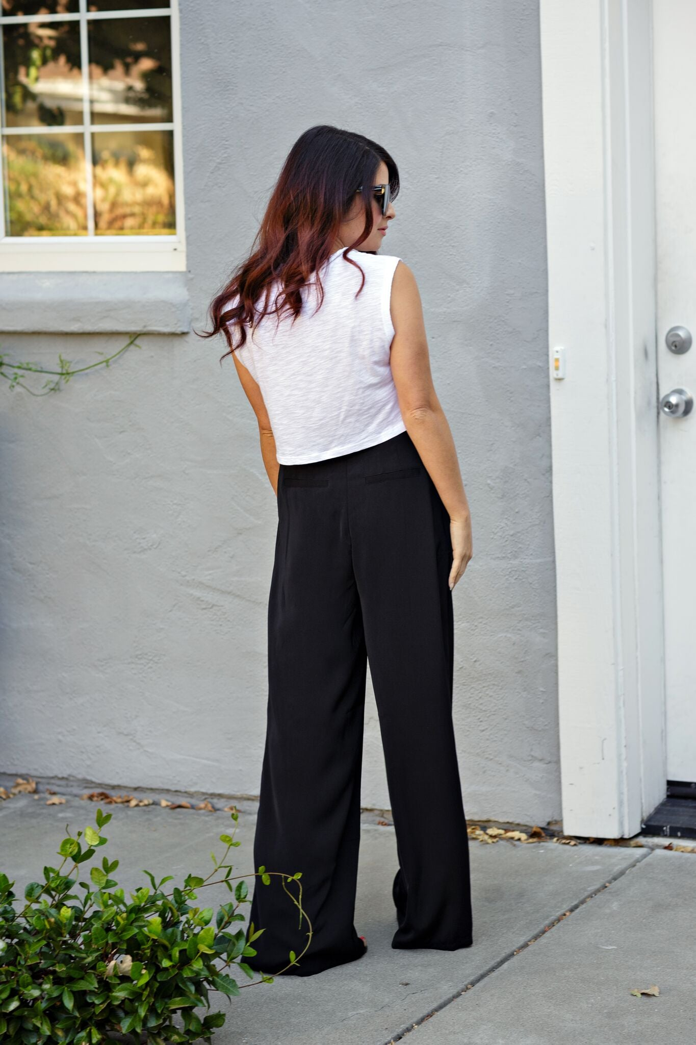 Structured Pants w/Pleating - Black