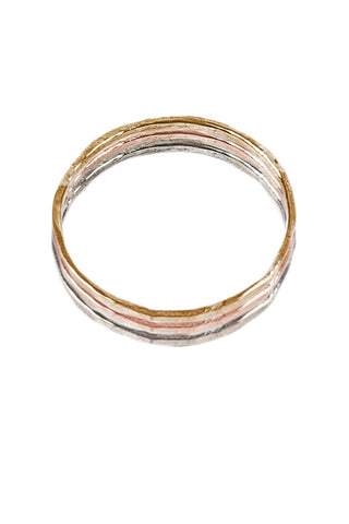 Mixed Metal Hammered Stacking Rings- Set of 3