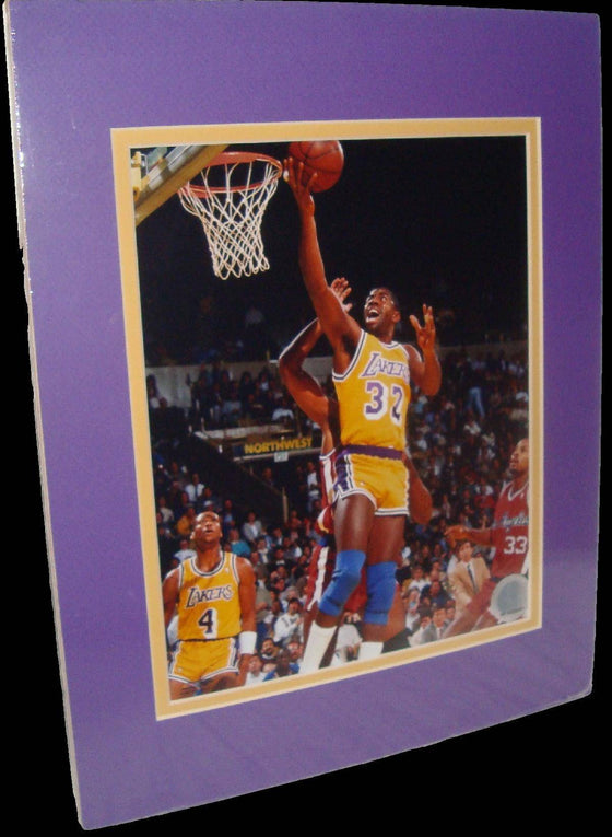 Magic Johnson Los Angeles Lakers Lay Up Matted 8x10 Photo Picture Poster Print