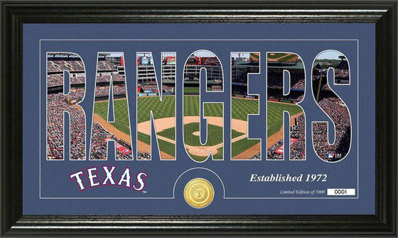 "Texas Rangers ""Silhouette"" Bronze Coin Panoramic Photo Mint (HM)"