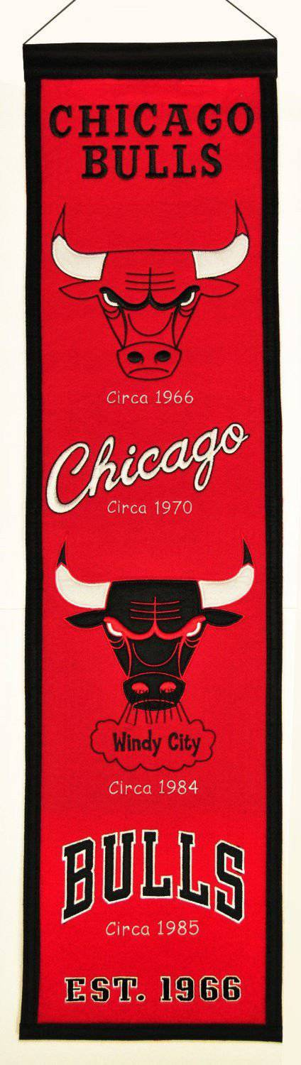 "Chicago Bulls Heritage Banner 8""x32"" Wool Embroidered"