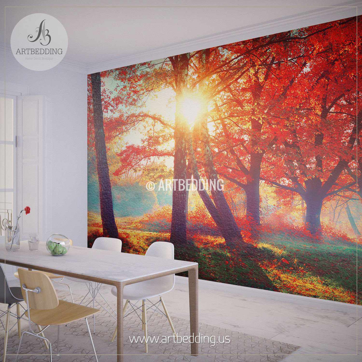 Autumn Fall Wall Mural, Self Adhesive Peel & Stick Photo Mural, Forest wall mural, Photo mural home decor wall mural