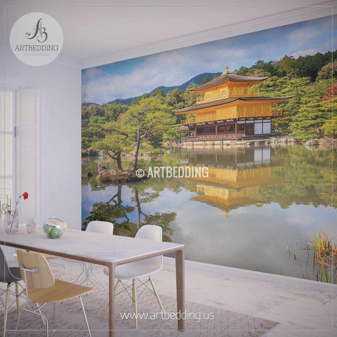 Autumn in Kyoto, Japan Forest Self Adhesive Peel & Stick, Nature wall mural wall mural