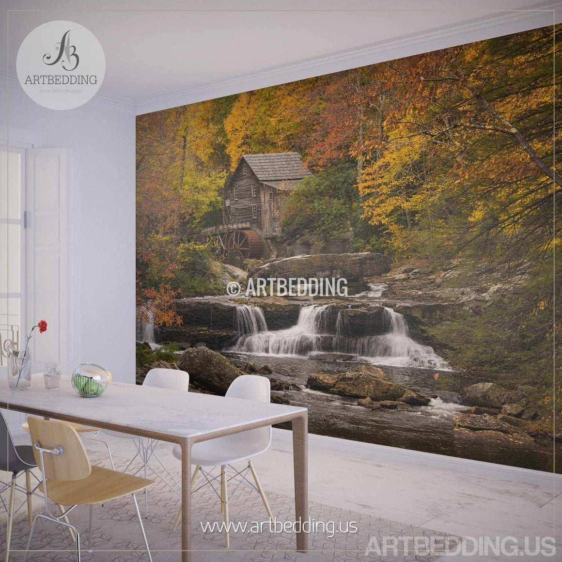Autumn scene Wall Mural, Autumn Forest mill photo mural Self Adhesive Peel & Stick, Autumn wall mural wall mural