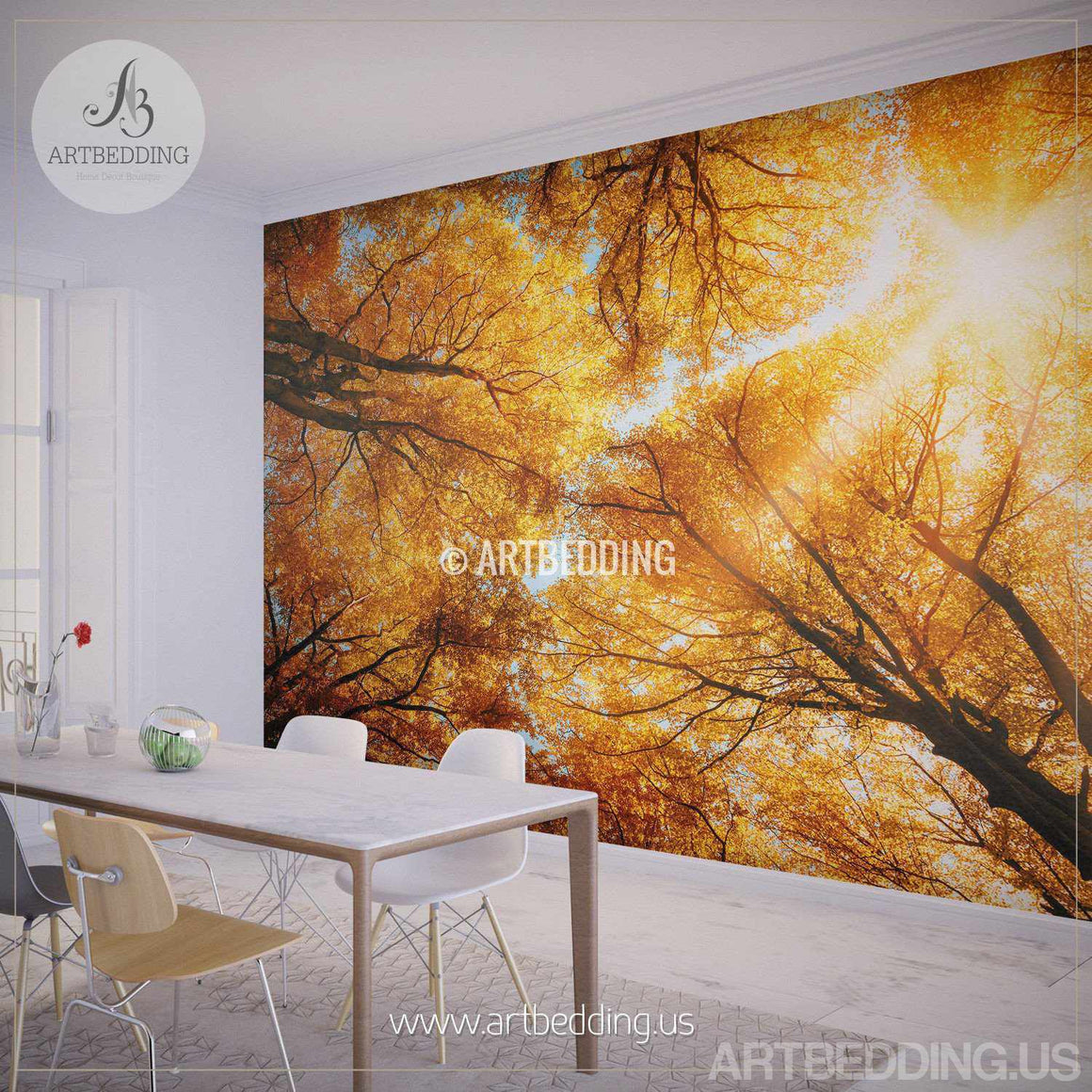 Autumn Treetop Wall Mural, Self Adhesive Peel & Stick Photo Mural, Forest wall mural, Photo mural home decor wall mural