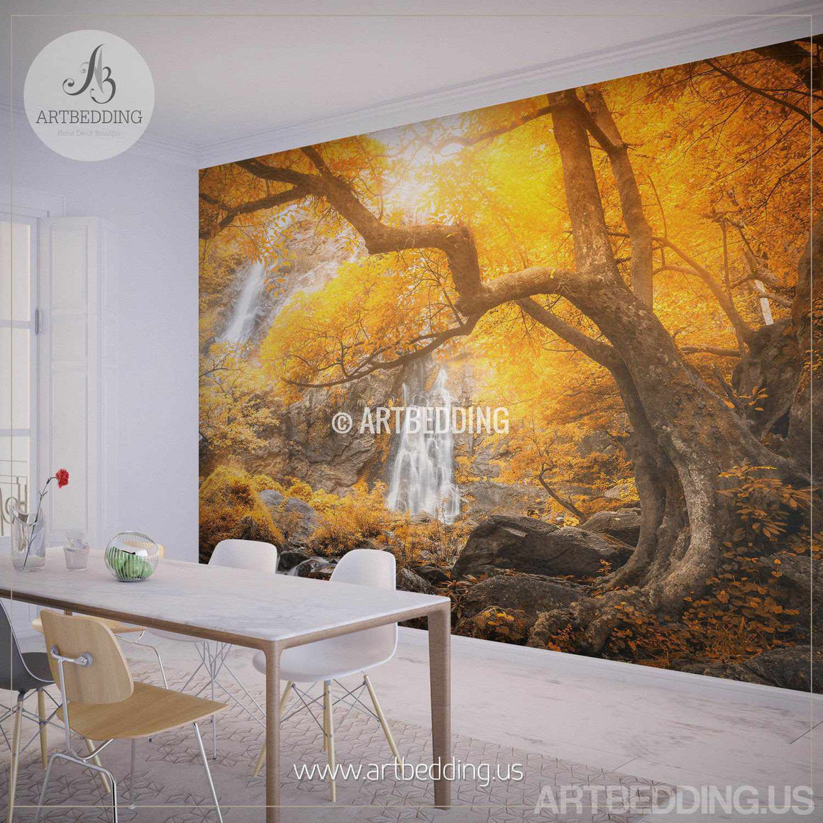 Autumn Waterfall Wall Mural, Photo wall Mural Self Adhesive Peel & Stick, Nature wall mural decor wall mural