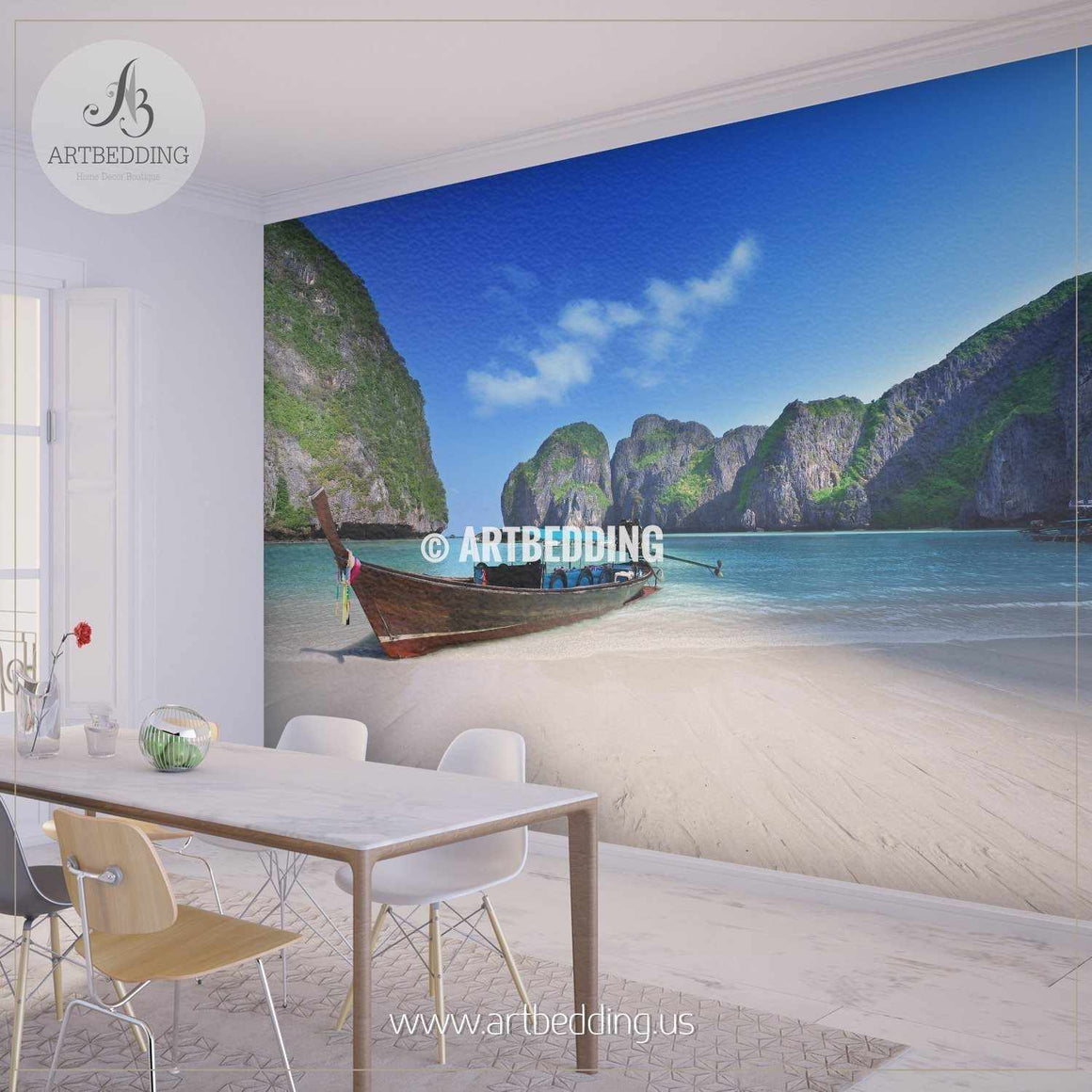 Beached boat on Beautiful White Sand, Phi Phi islands Wall Mural, Self Adhesive Peel & Stick wall mural wall mural