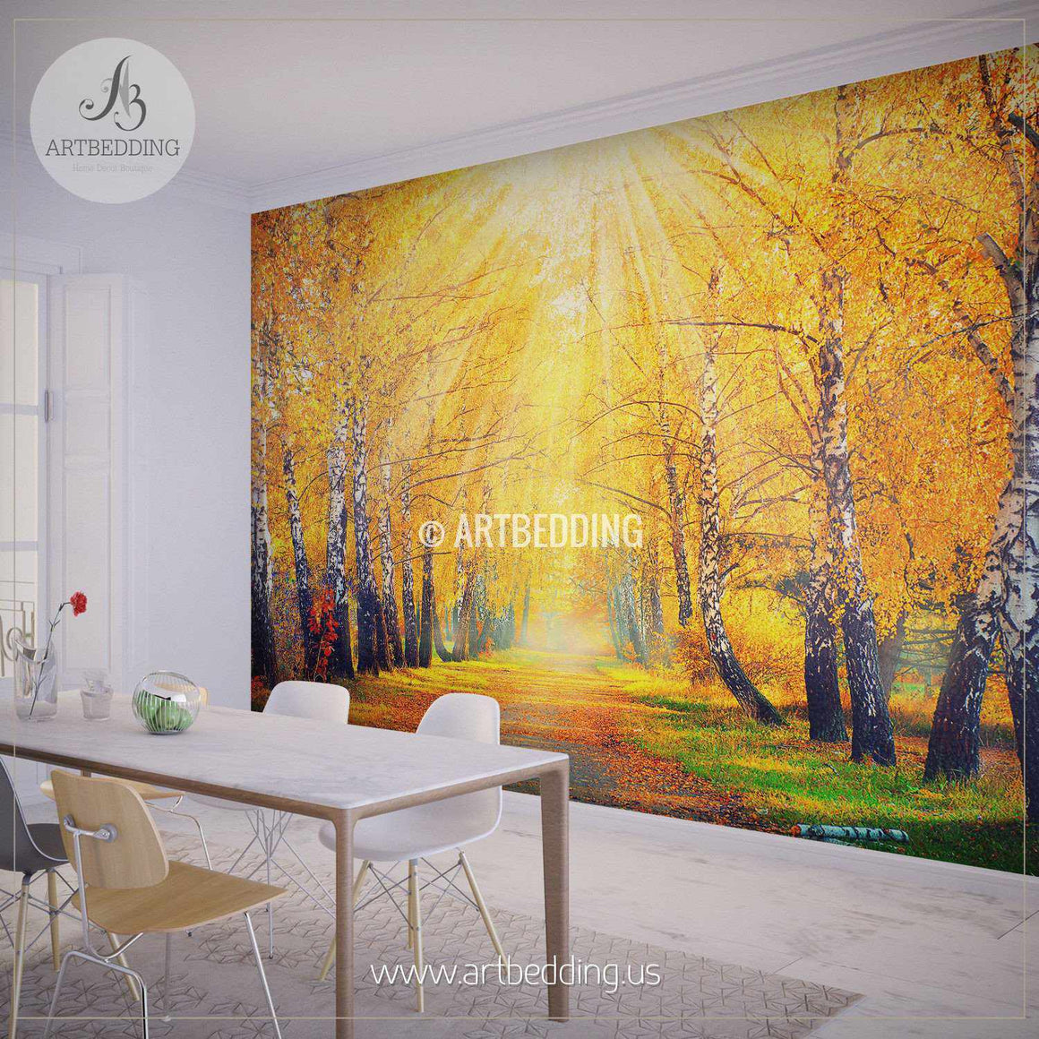 Beautiful Autumn scene Wall Mural, Photo mural Self Adhesive Peel & Stick, wall mural wall mural