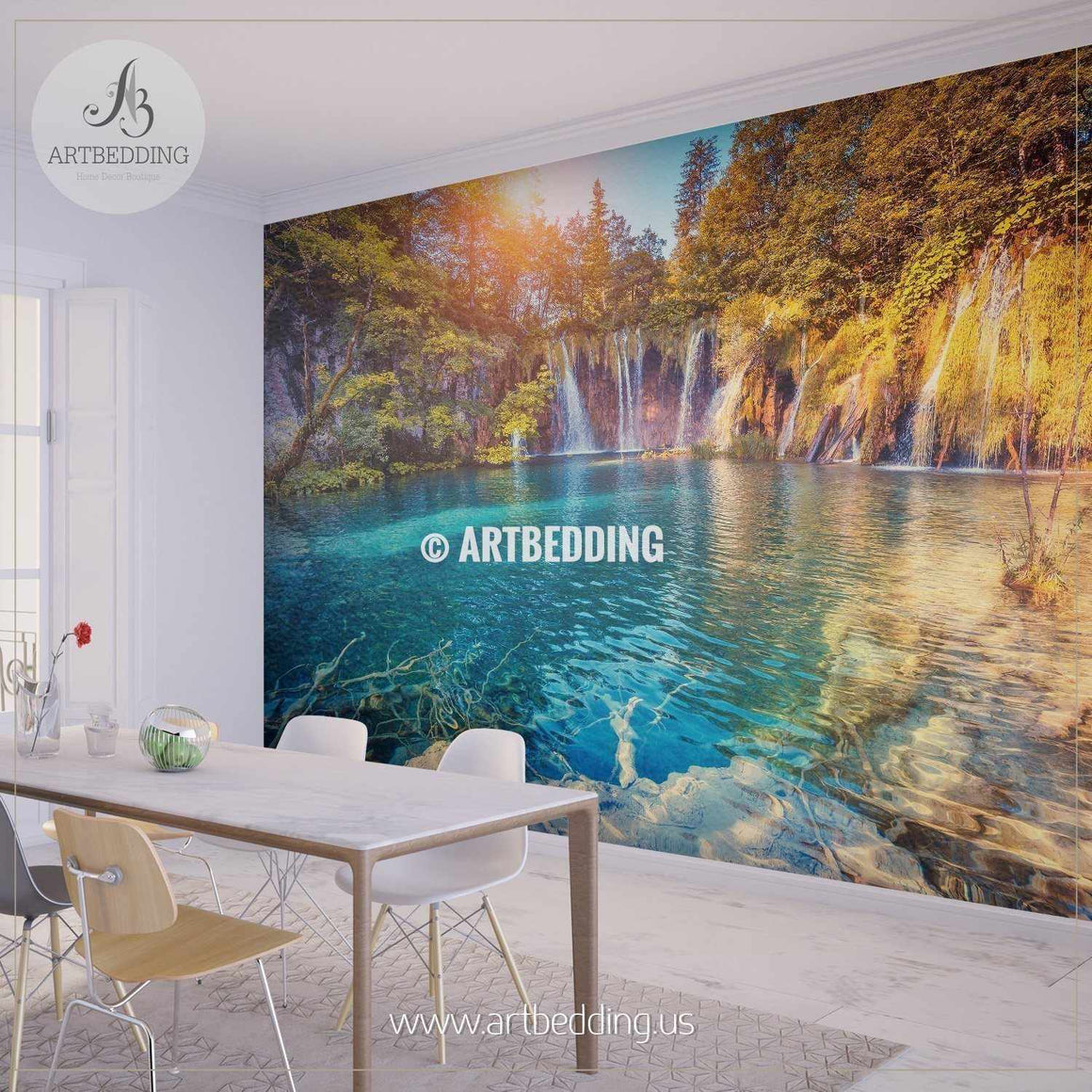Beautiful lake in Croatia Wall Mural, Self Adhesive Peel & Stick wall mural wall mural