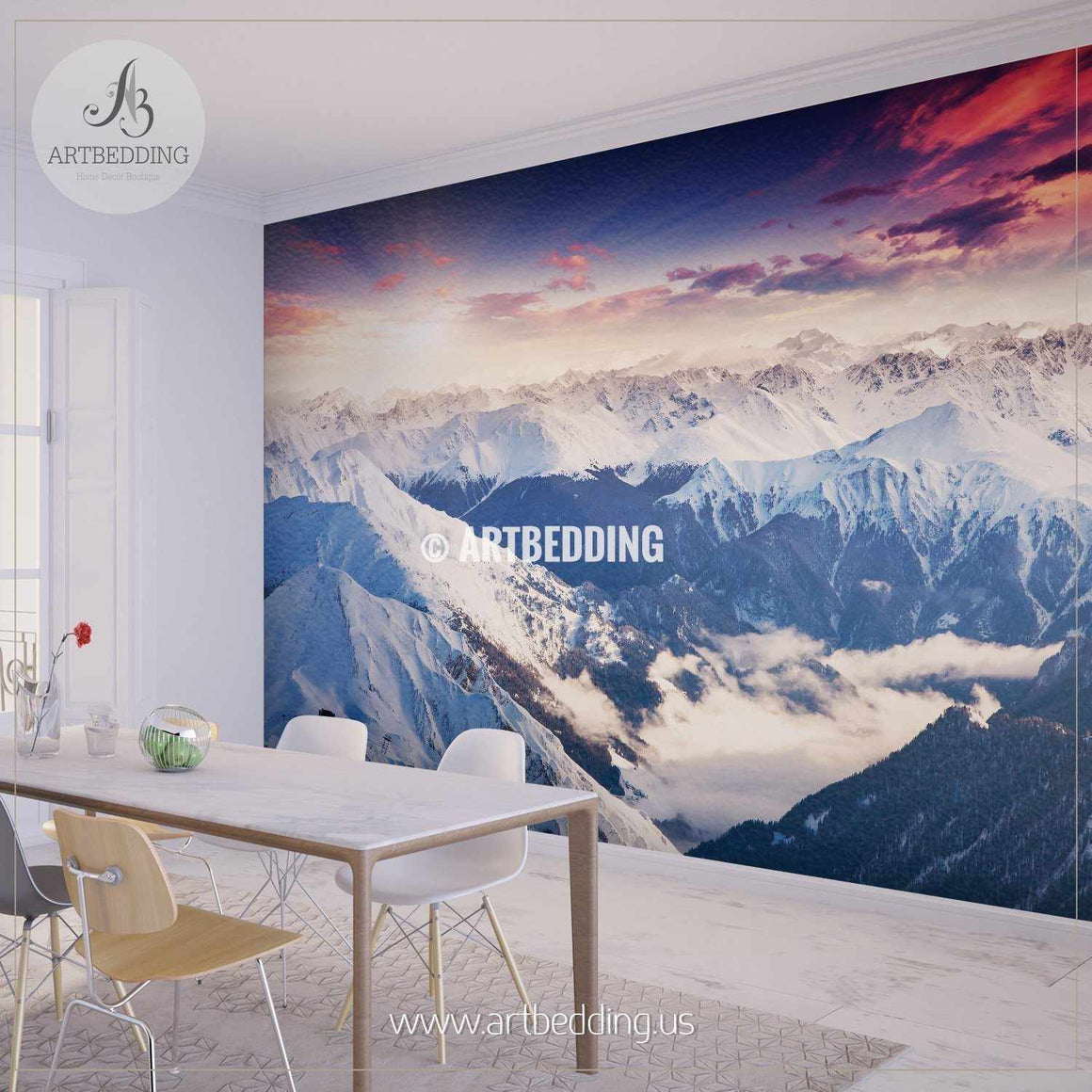 Beautiful view from up in the Alps, a winter wonderland Wall Mural, Self Adhesive Peel & Stick wall mural wall mural