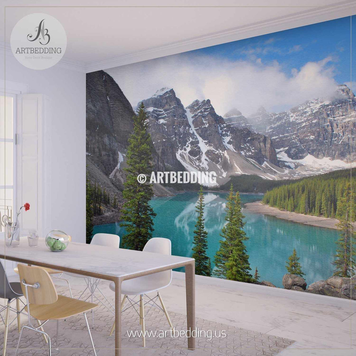 Beautiful view of Moraine Lake in Banff Nationl Park, Canada Wall Mural, Self Adhesive Peel & Stick wall mural wall mural