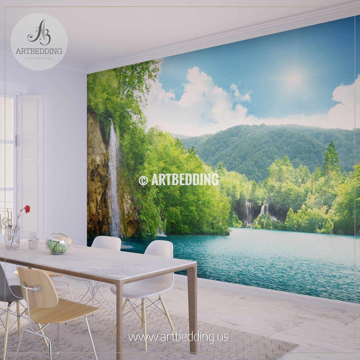 Beautiful Waterfall in Nature Wall Mural, Self Adhesive Peel & Stick wall mural wall mural