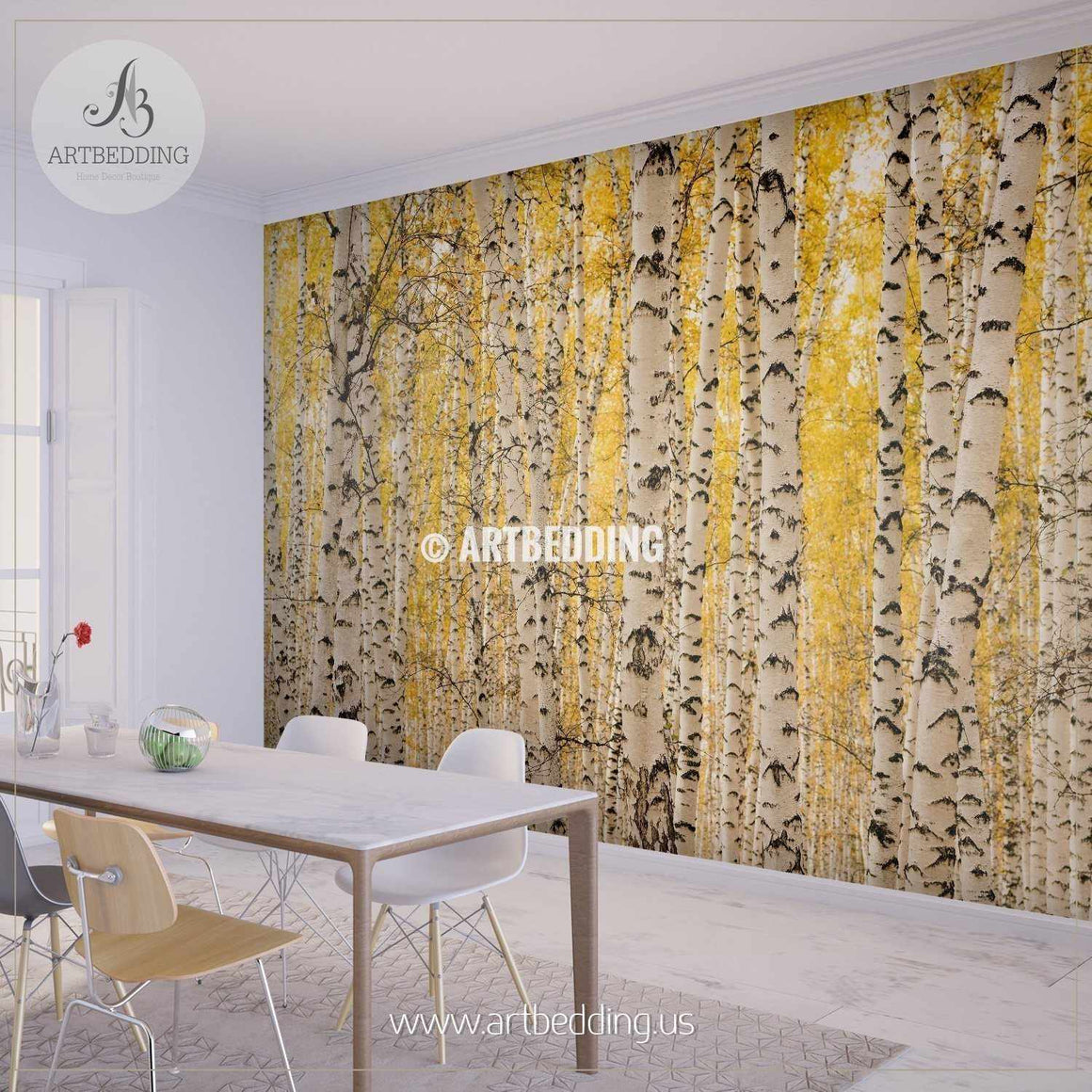 Birch Forest Autumn Background Wall Mural, Self Adhesive Peel & Stick wall mural wall mural