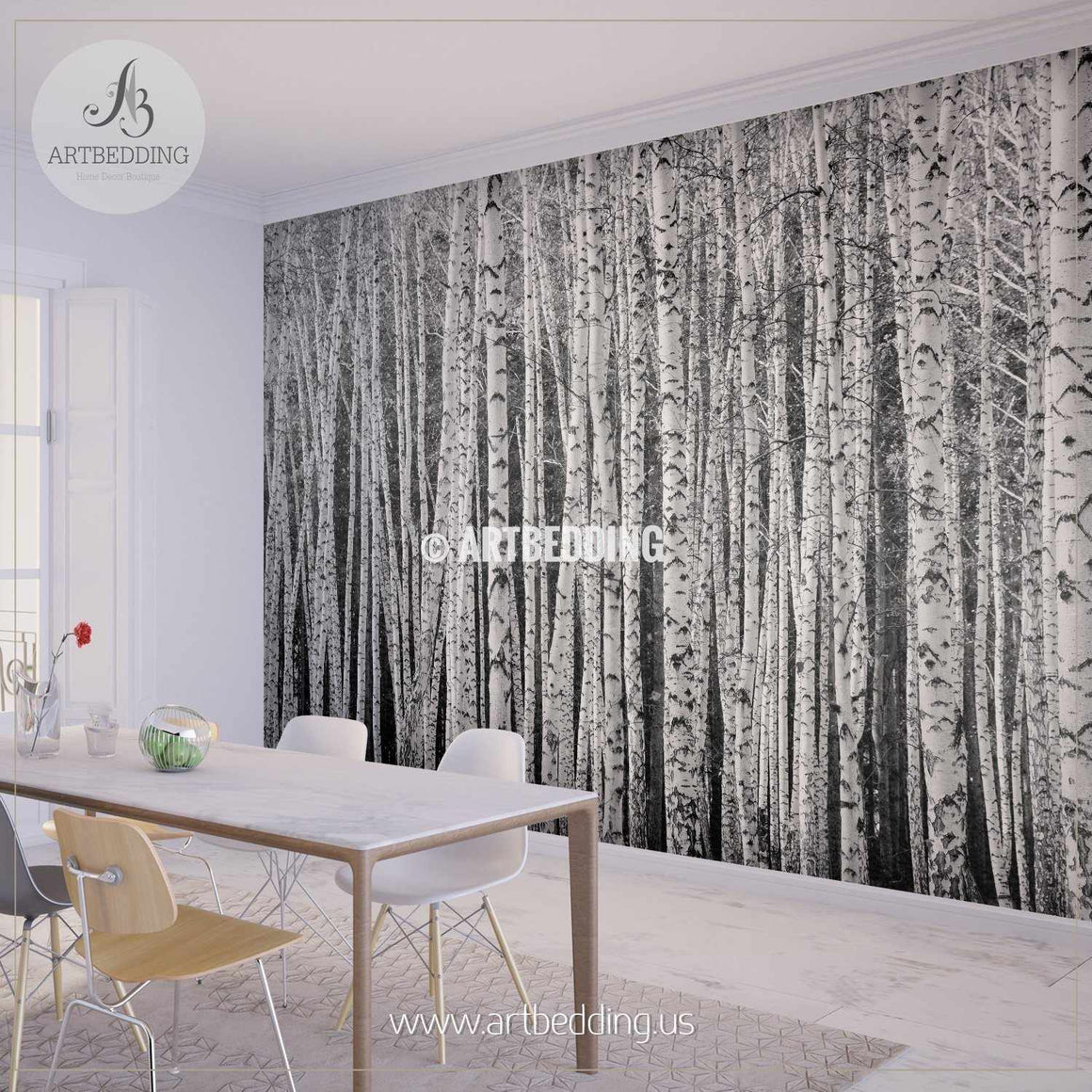 Birch forest, black and white Self Adhesive Peel & Stick, Nature wall mural wall mural