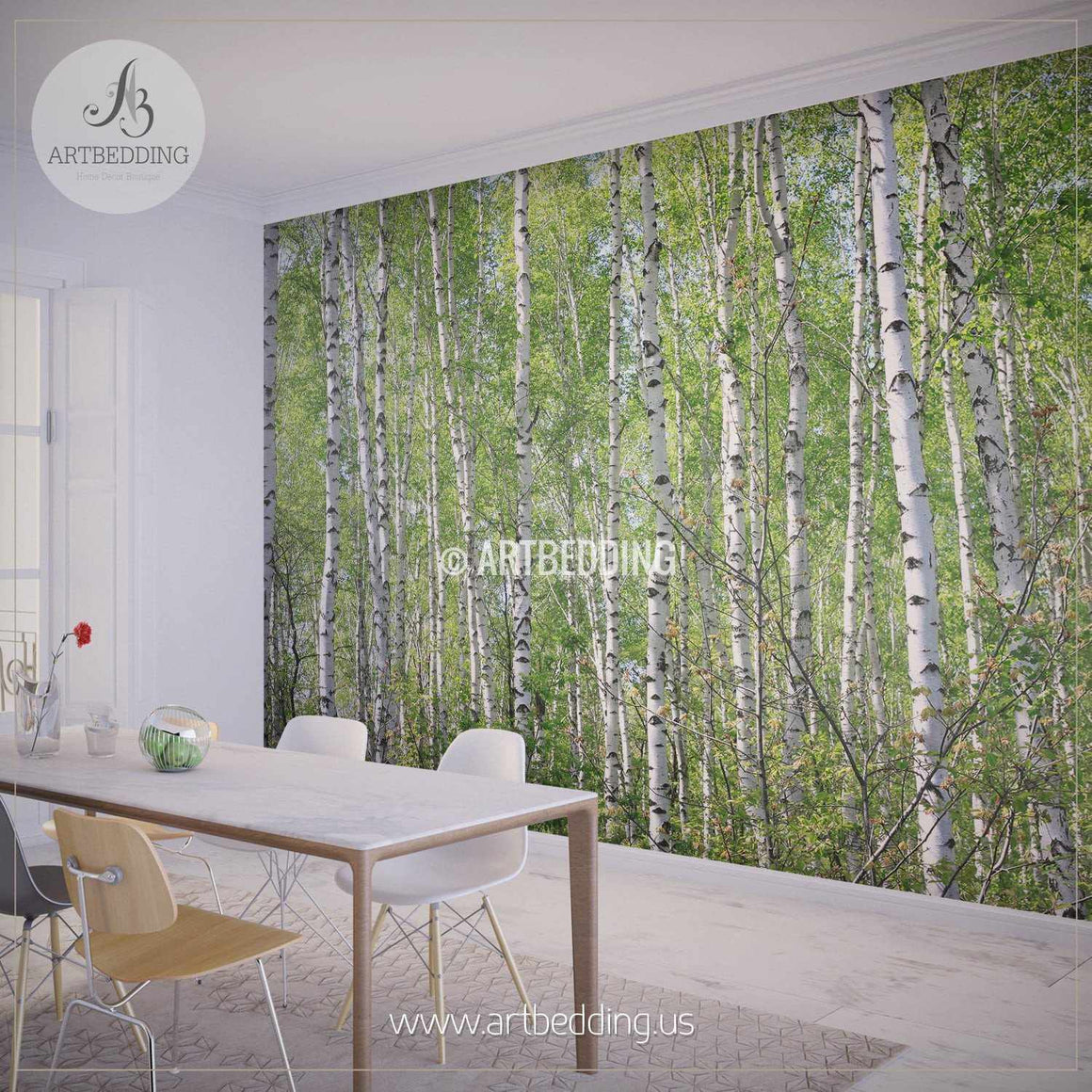 Birches in Forest Wall Mural, Photo mural Self Adhesive Peel & Stick, wall mural wall mural