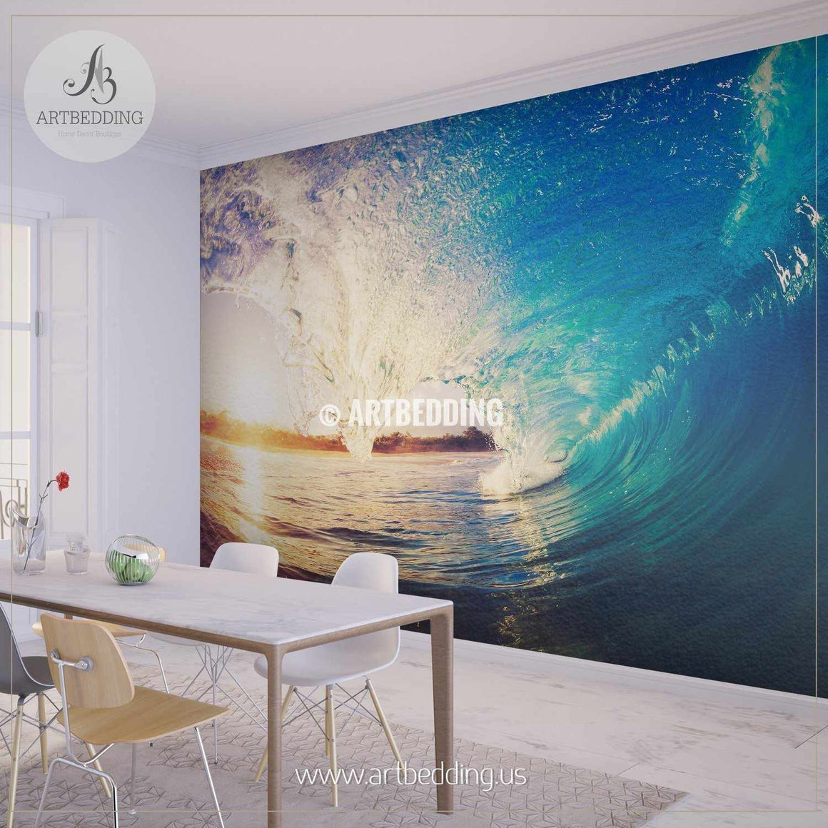 Blue Ocean Wave Crashing at Sunrise Wall Mural, Self Adhesive Peel & Stick wall mural wall mural