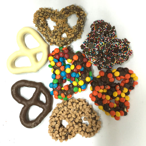 Assorted chocolate dipped pretzels