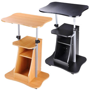 Height-Adjustable Rolling Laptop Cart w/ Storage Black/ Beech Opt