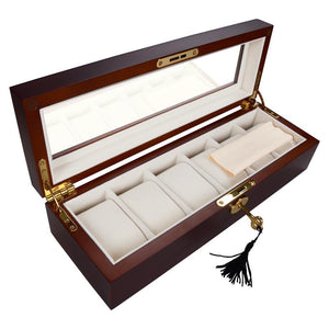 6-Slot Red Matte Finish Wood Watch Display Case