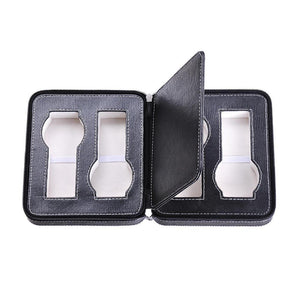4-Slot Black Leather Watch Case Zippered Jewelry Box