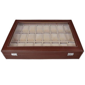 24-Slot Brown Leather Watch Case Glass Display Jewelry Box
