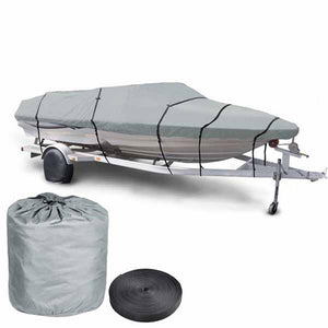 16'-18' V-Hull Watercraft Fish Ski Trailerable Boat Cover Gray